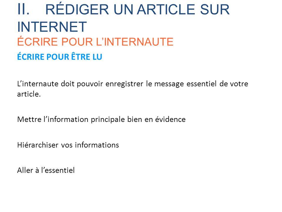 II. RÉDIGER UN ARTICLE SUR INTERNET ÉCRIRE POUR L'INTERNAUTE