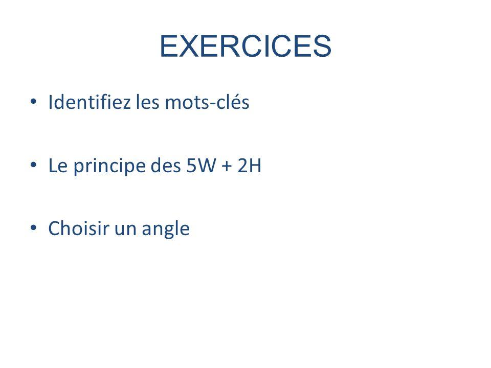 EXERCICES Identifiez les mots-clés Le principe des 5W + 2H