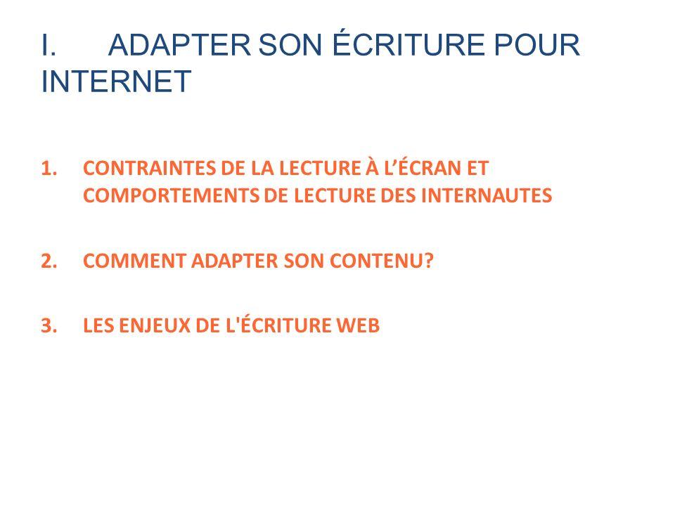 I. ADAPTER SON ÉCRITURE POUR INTERNET