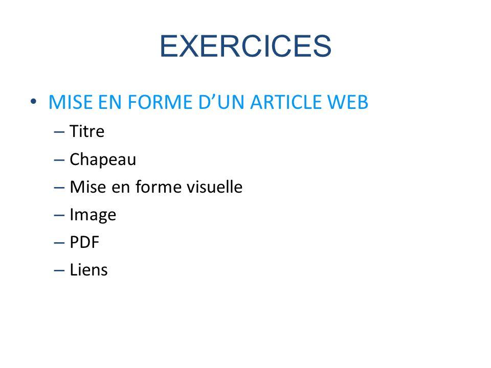 EXERCICES MISE EN FORME D'UN ARTICLE WEB Titre Chapeau