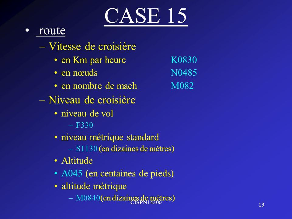 CASE 15 route Vitesse de croisière Niveau de croisière
