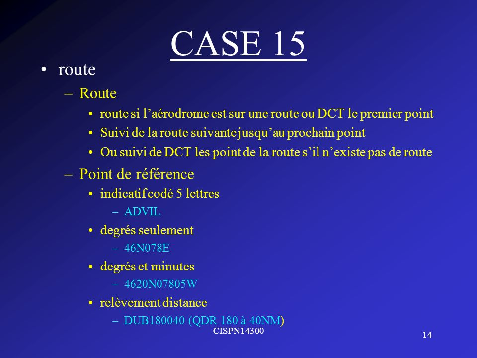 CASE 15 route Route Point de référence