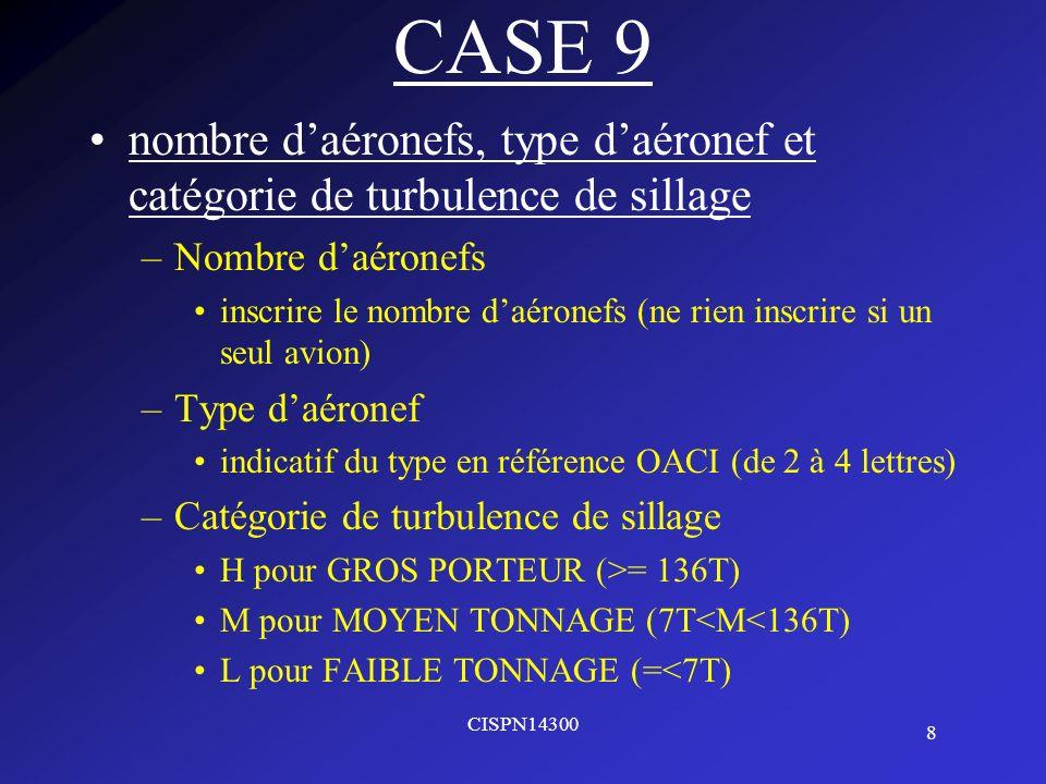 CASE 9 nombre d'aéronefs, type d'aéronef et catégorie de turbulence de sillage. Nombre d'aéronefs.