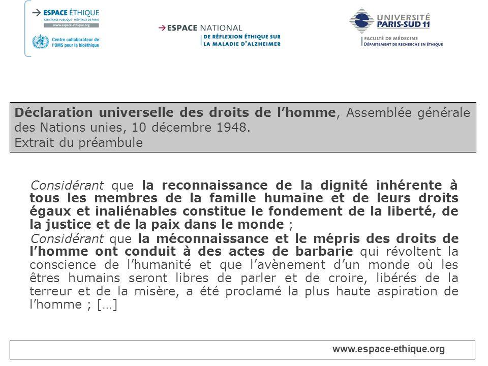 Déclaration universelle des droits de l'homme, Assemblée générale des Nations unies, 10 décembre 1948.