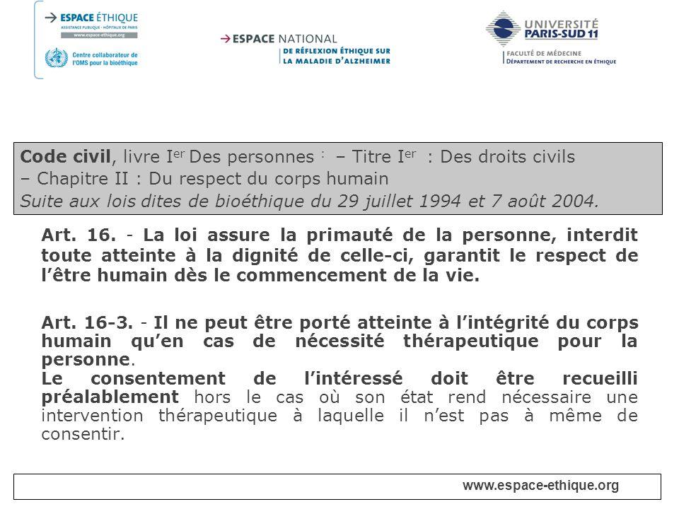 Code civil, livre Ier Des personnes : – Titre Ier : Des droits civils