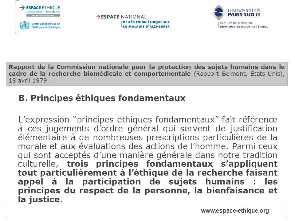 B. Principes éthiques fondamentaux