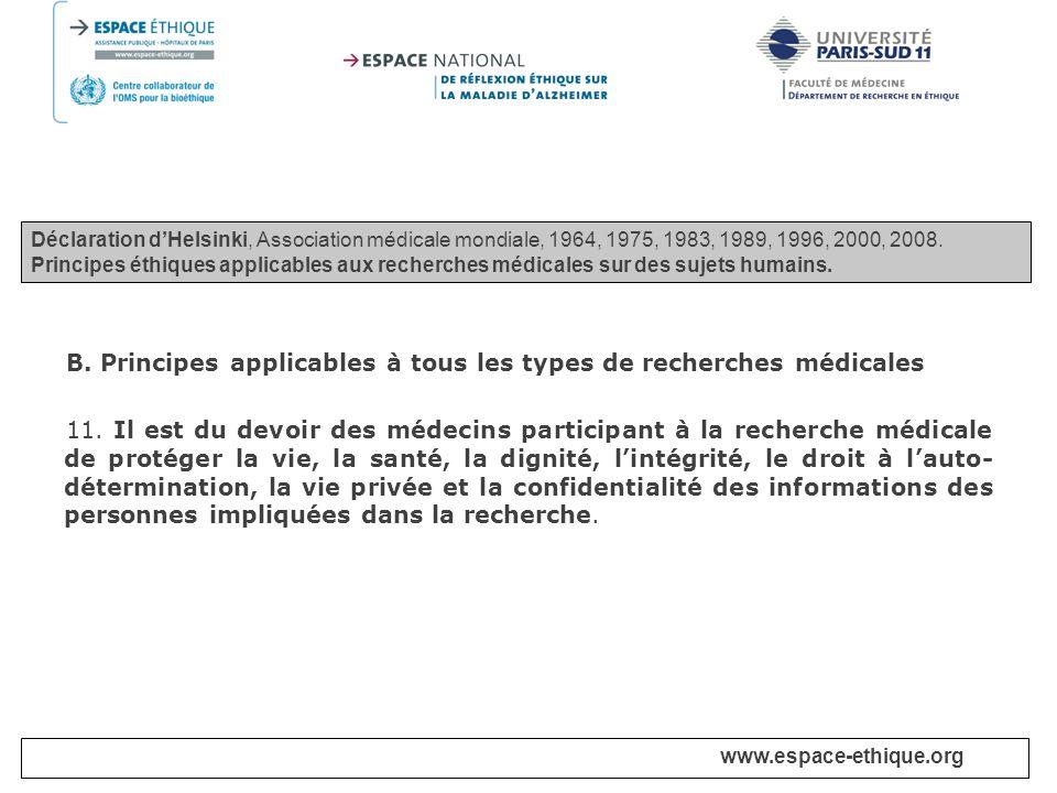 B. Principes applicables à tous les types de recherches médicales