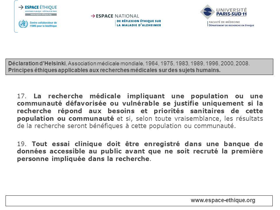 Déclaration d'Helsinki, Association médicale mondiale, 1964, 1975, 1983, 1989, 1996, 2000, 2008.