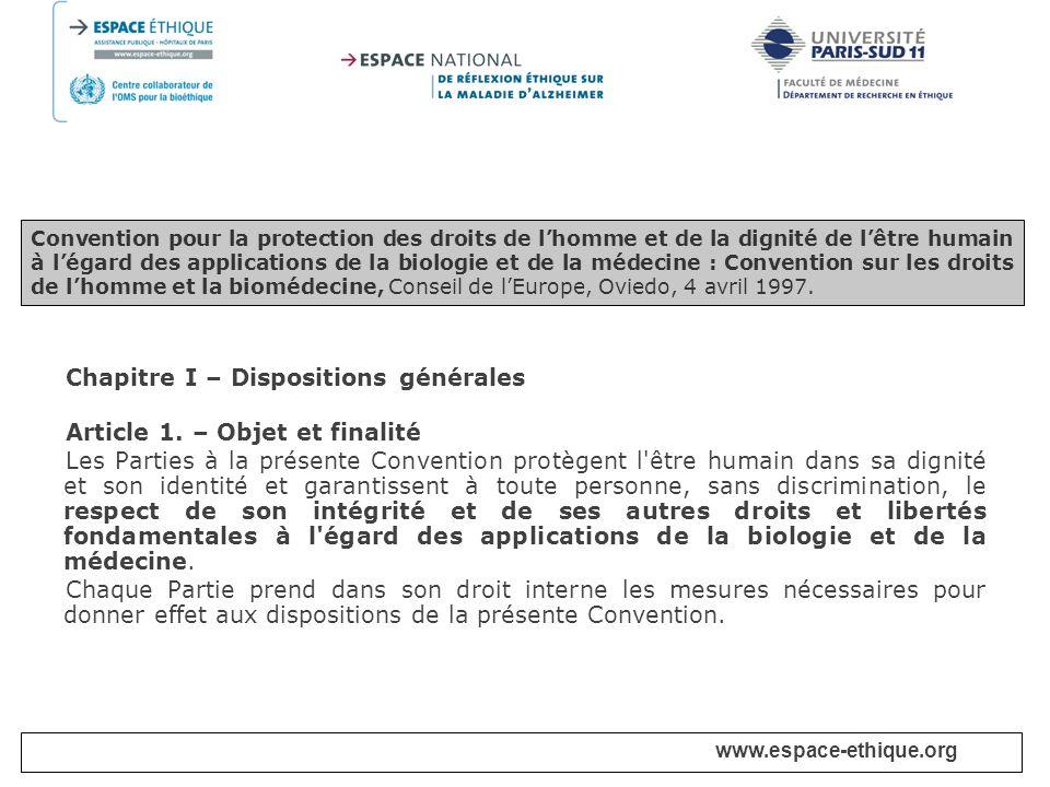 Chapitre I – Dispositions générales Article 1. – Objet et finalité