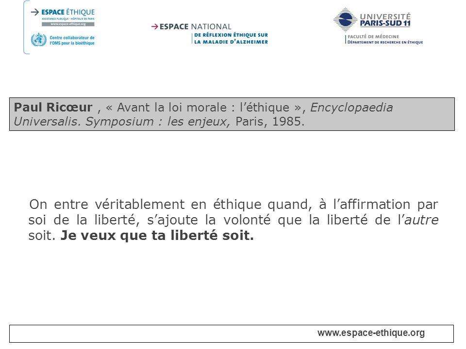 Paul Ricœur , « Avant la loi morale : l'éthique », Encyclopaedia Universalis. Symposium : les enjeux, Paris, 1985.