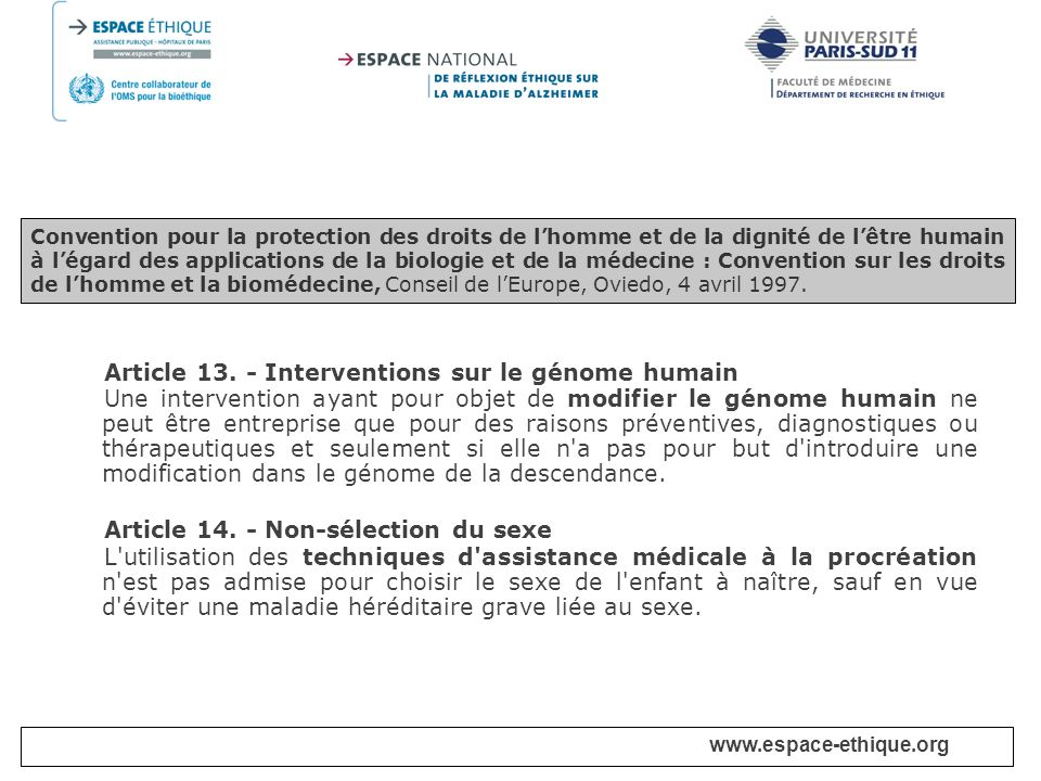 Article 13. - Interventions sur le génome humain
