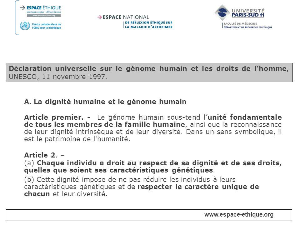 A. La dignité humaine et le génome humain