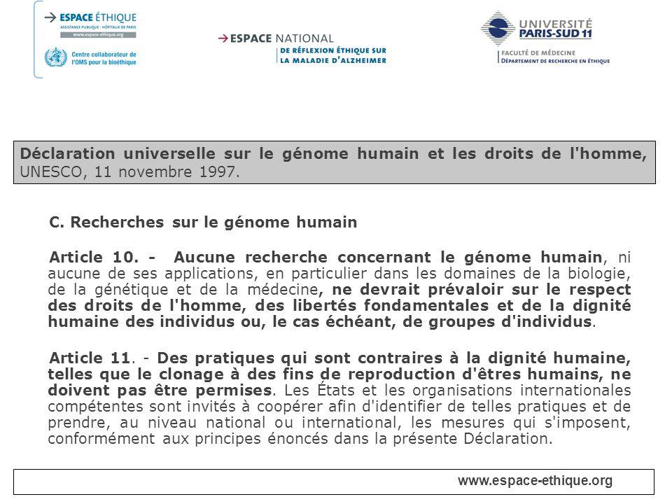 C. Recherches sur le génome humain