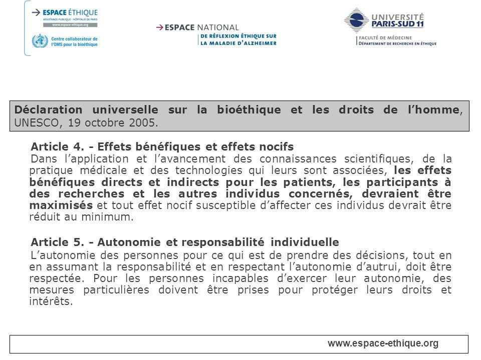 Article 4. - Effets bénéfiques et effets nocifs