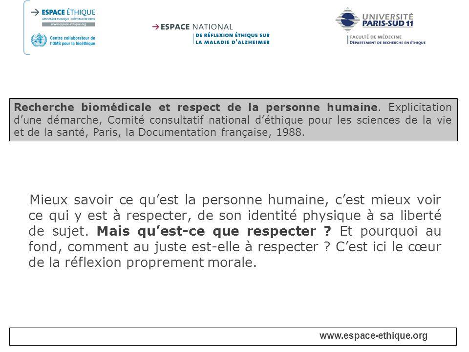Recherche biomédicale et respect de la personne humaine