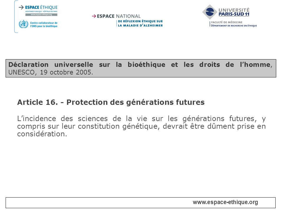 Article 16. - Protection des générations futures