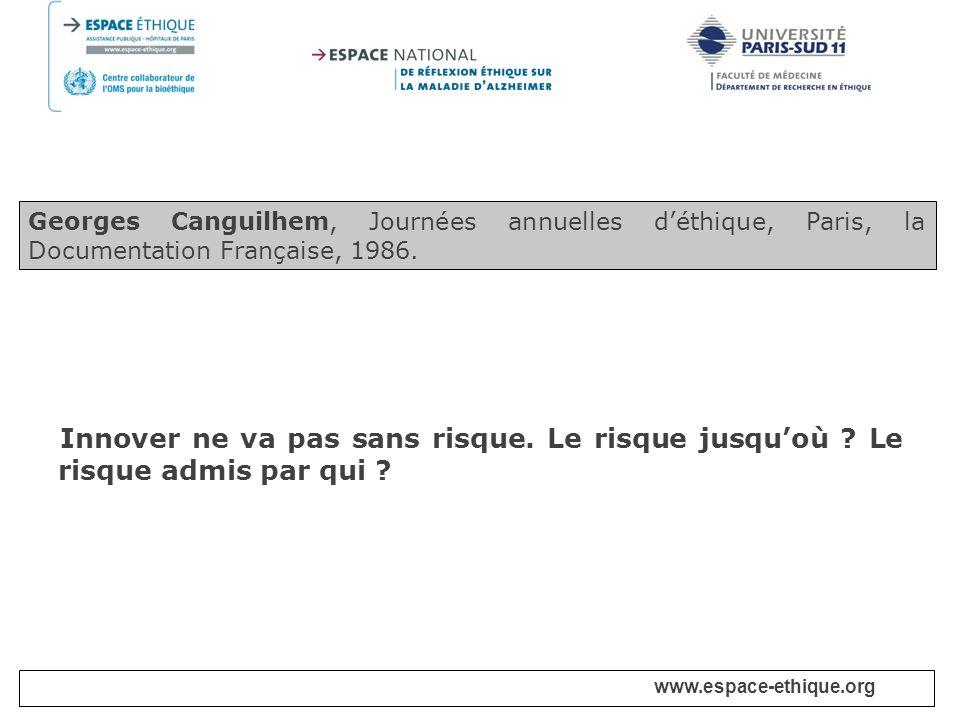 Georges Canguilhem, Journées annuelles d'éthique, Paris, la Documentation Française, 1986.