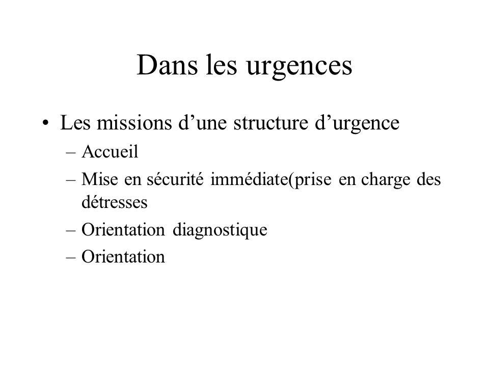 Dans les urgences Les missions d'une structure d'urgence Accueil