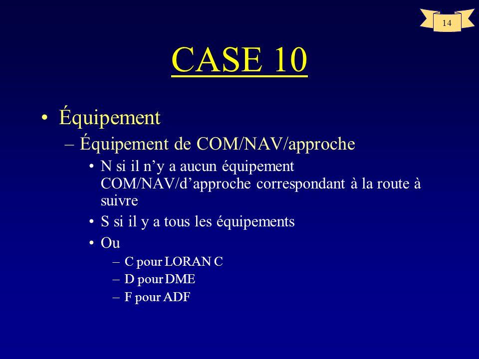 CASE 10 Équipement Équipement de COM/NAV/approche
