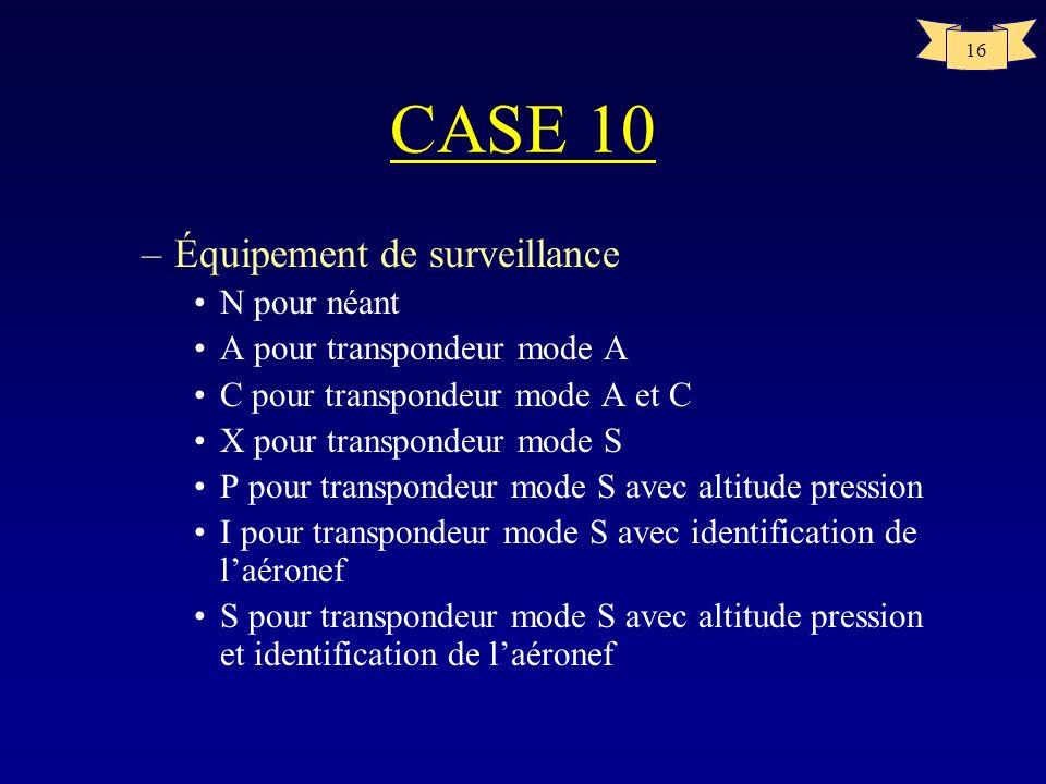 CASE 10 Équipement de surveillance N pour néant