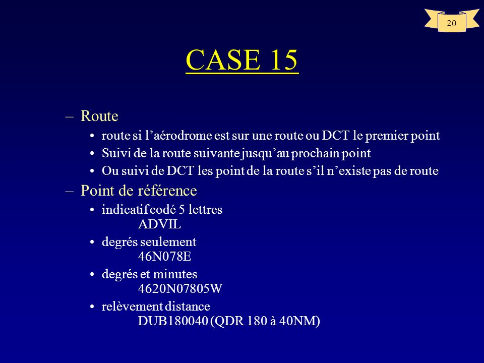 CASE 15 Route Point de référence