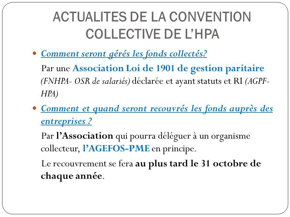 ACTUALITES DE LA CONVENTION COLLECTIVE DE L'HPA