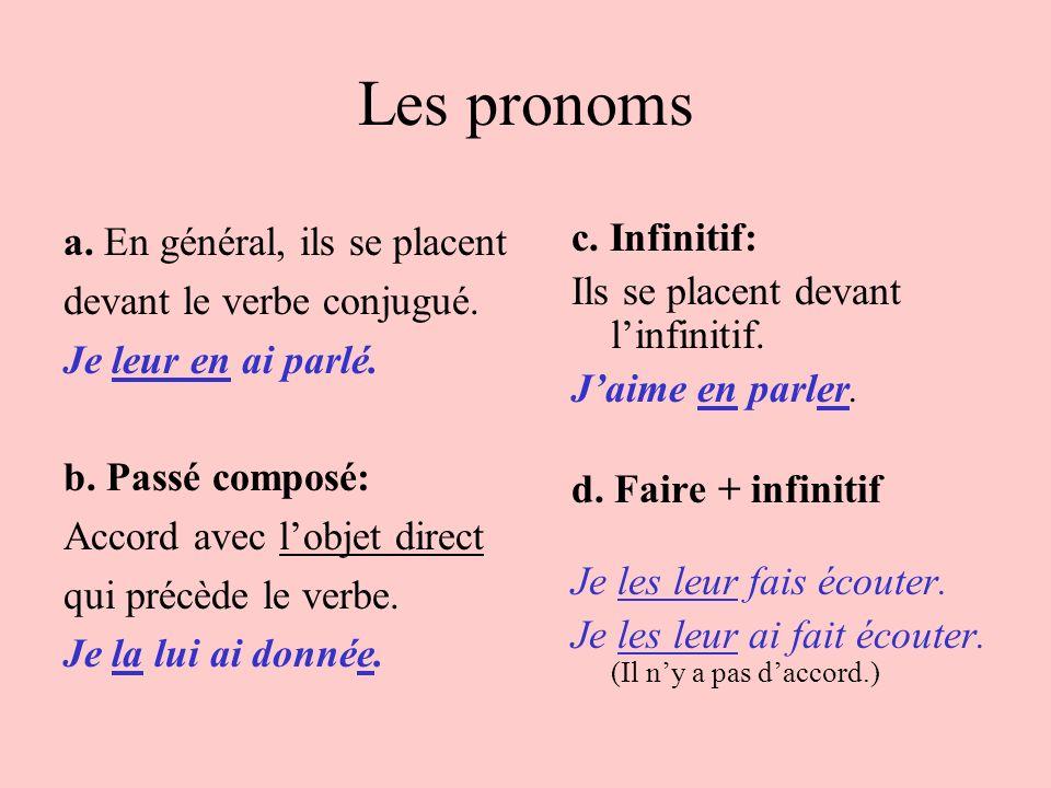 Les pronoms a. En général, ils se placent devant le verbe conjugué.