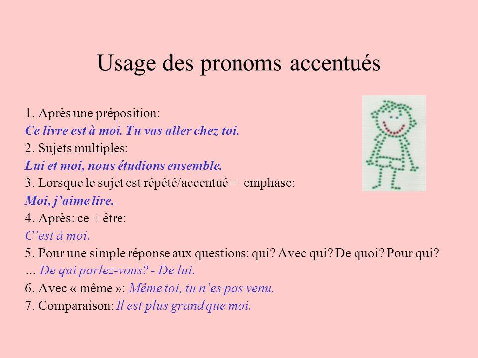 Usage des pronoms accentués