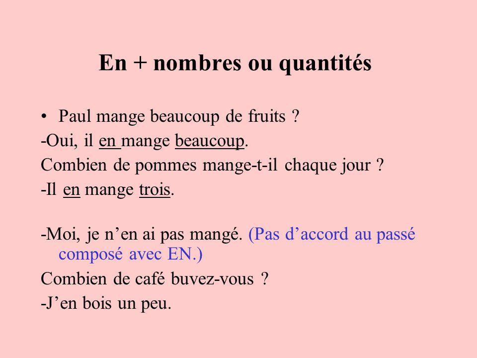 En + nombres ou quantités