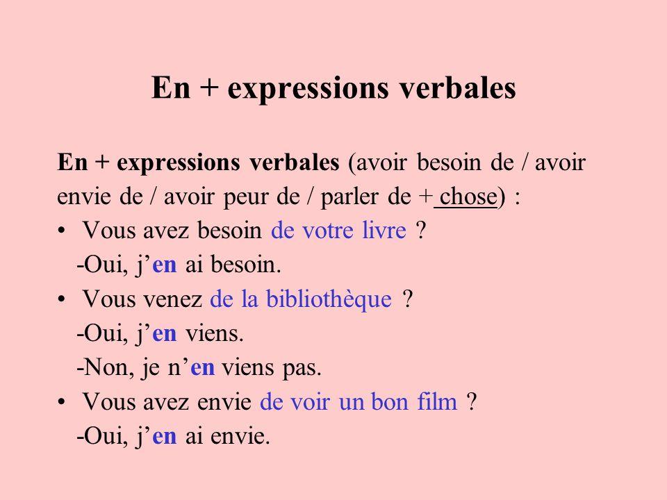 En + expressions verbales