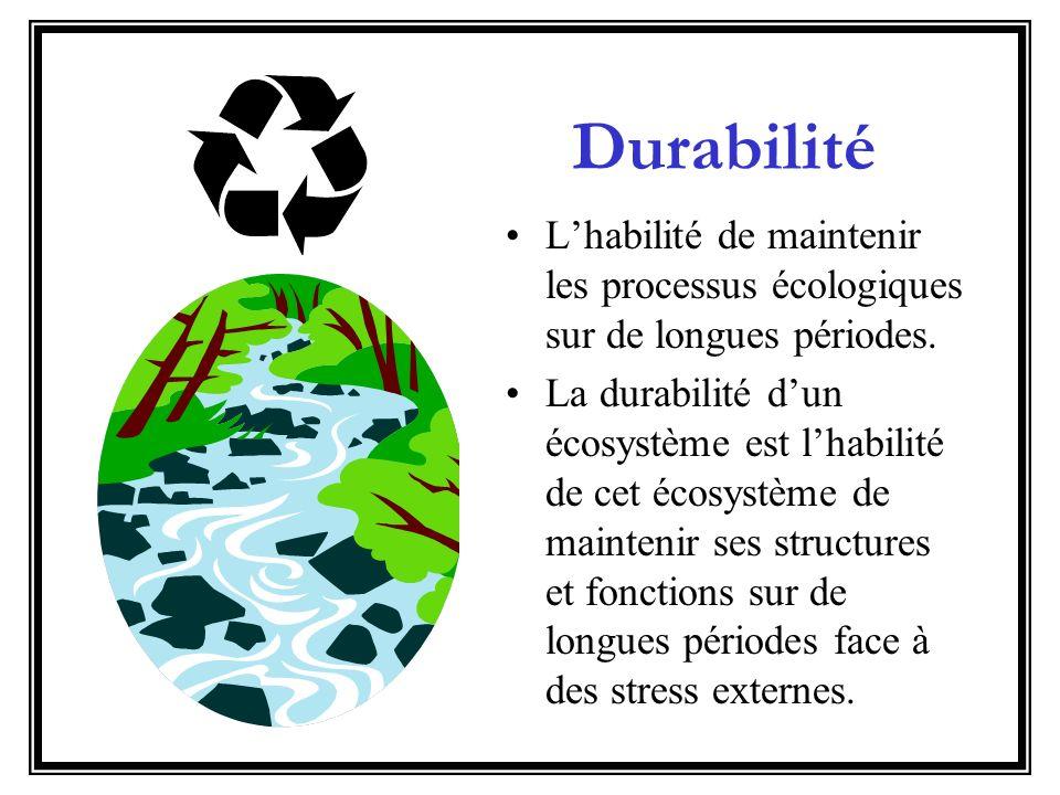 Durabilité L'habilité de maintenir les processus écologiques sur de longues périodes.