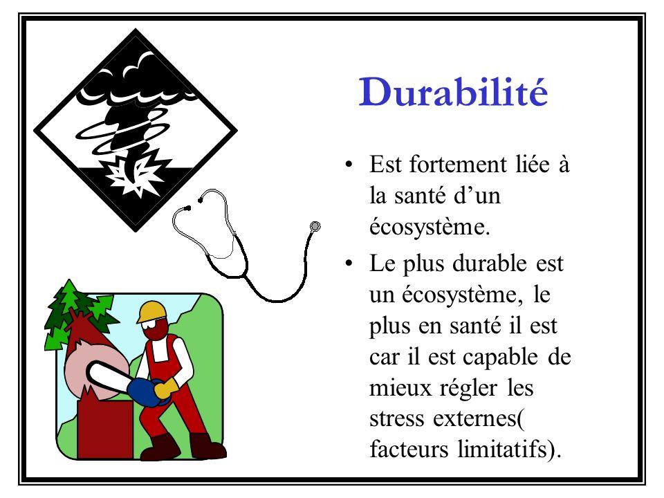 Durabilité Est fortement liée à la santé d'un écosystème.