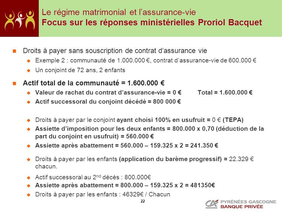 Le régime matrimonial et l'assurance-vie Focus sur les réponses ministérielles Proriol Bacquet