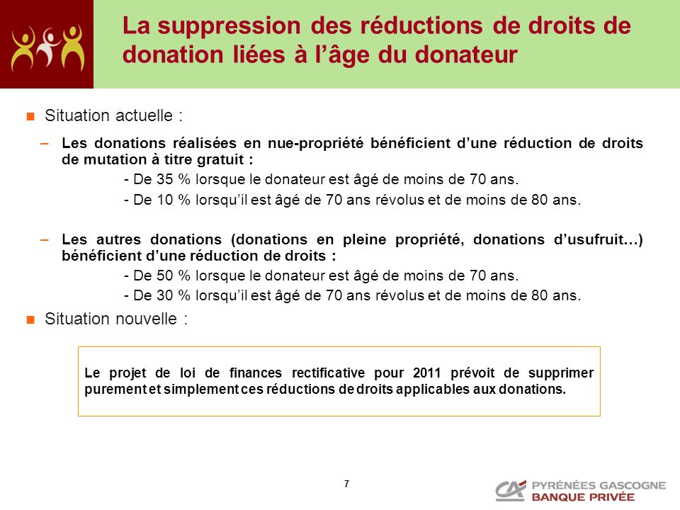 La suppression des réductions de droits de donation liées à l'âge du donateur