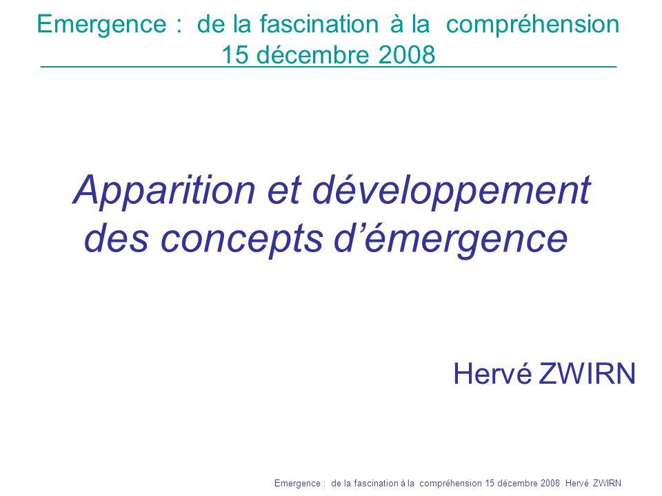Apparition et développement des concepts d'émergence