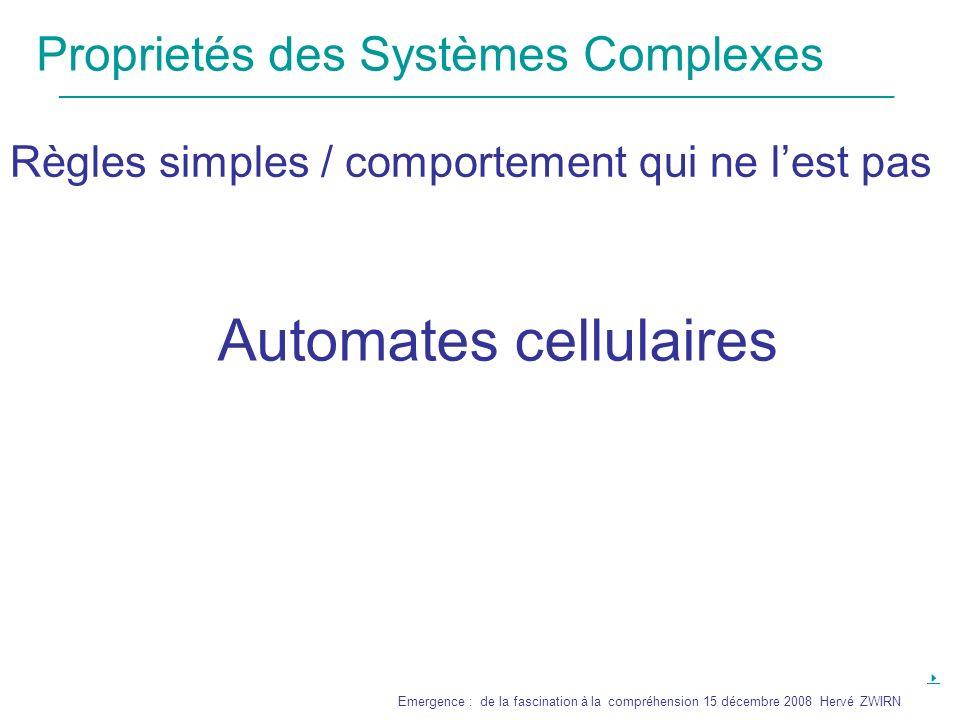Proprietés des Systèmes Complexes