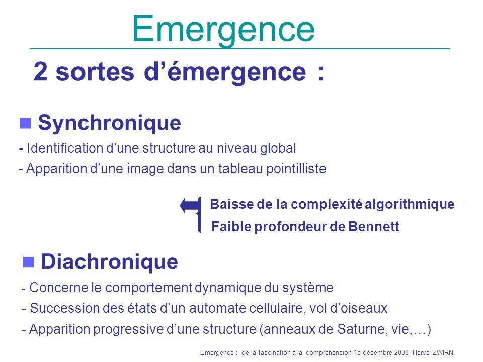 Emergence 2 sortes d'émergence : Synchronique Diachronique