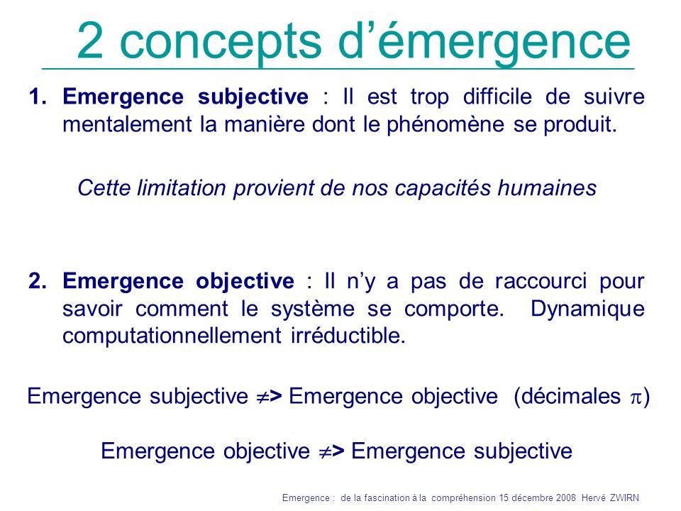2 concepts d'émergence Emergence subjective : Il est trop difficile de suivre mentalement la manière dont le phénomène se produit.