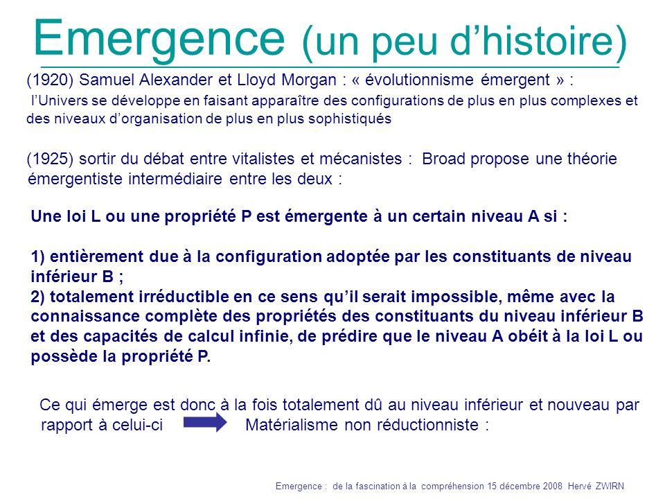 Emergence (un peu d'histoire)