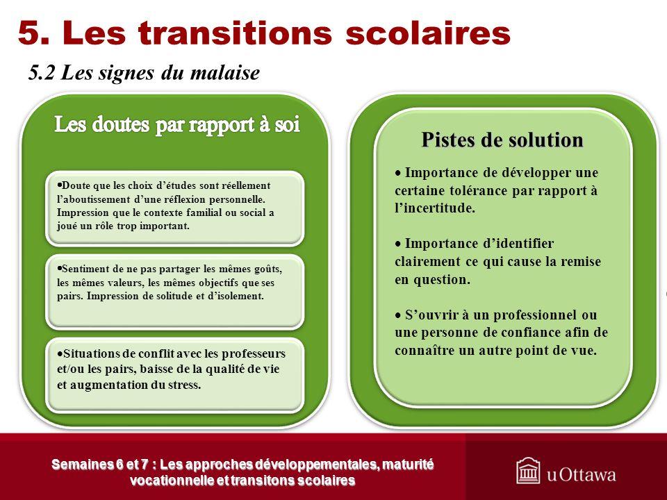5. Les transitions scolaires