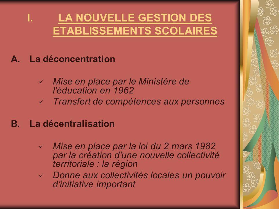 LA NOUVELLE GESTION DES ETABLISSEMENTS SCOLAIRES
