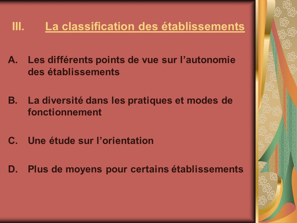 La classification des établissements