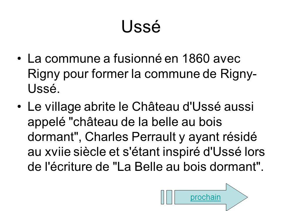 Ussé La commune a fusionné en 1860 avec Rigny pour former la commune de Rigny-Ussé.
