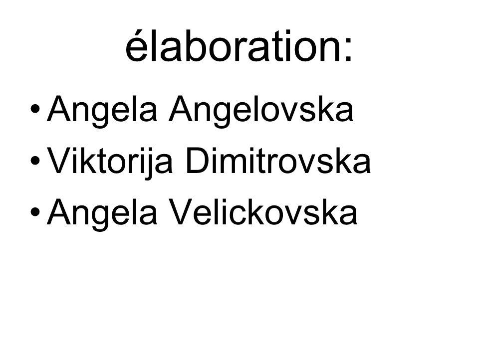 élaboration: Angela Angelovska Viktorija Dimitrovska