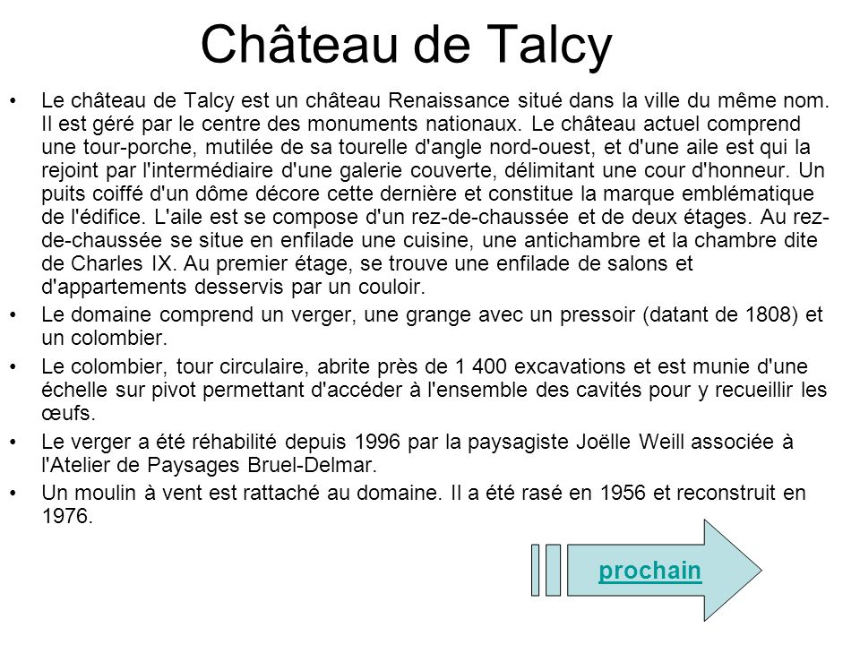 Château de Talcy prochain
