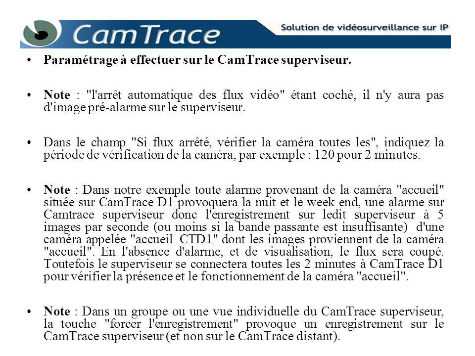 Paramétrage à effectuer sur le CamTrace superviseur.