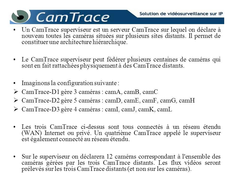 Un CamTrace superviseur est un serveur CamTrace sur lequel on déclare à nouveau toutes les caméras situées sur plusieurs sites distants. Il permet de constituer une architecture hiérarchique.