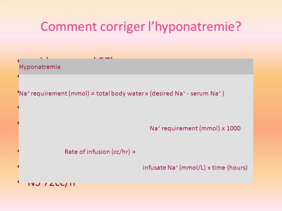 Comment corriger l'hyponatremie