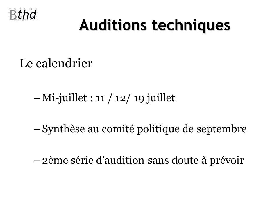 Auditions techniques Le calendrier Mi-juillet : 11 / 12/ 19 juillet