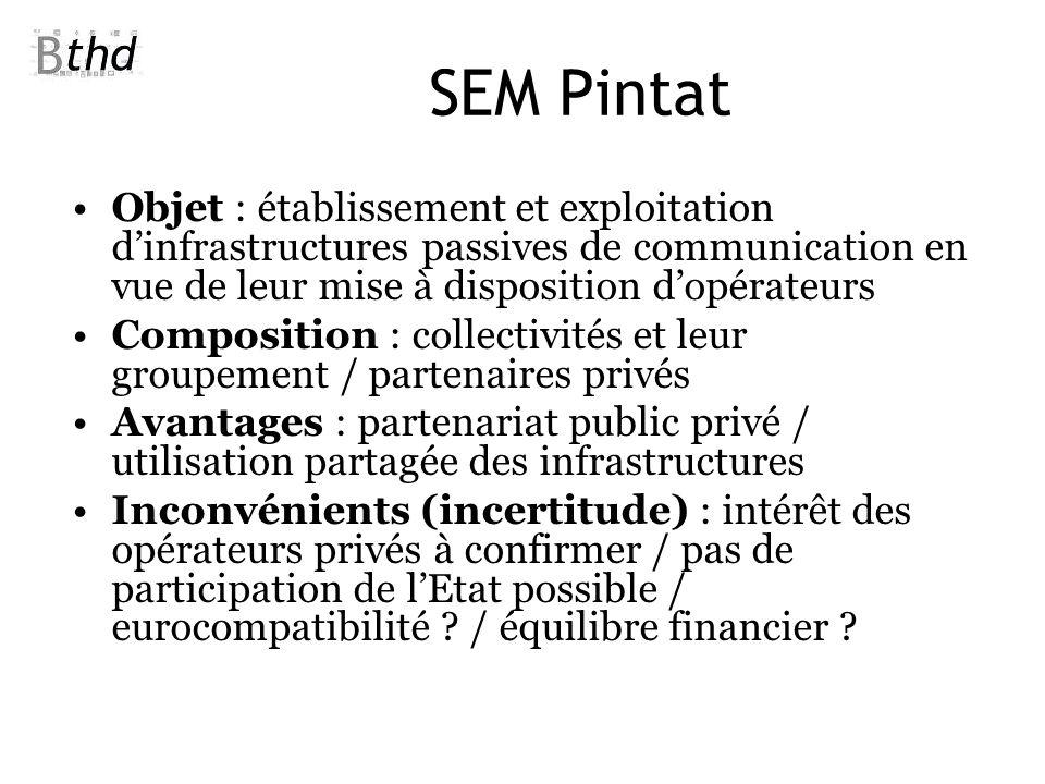 SEM Pintat Objet : établissement et exploitation d'infrastructures passives de communication en vue de leur mise à disposition d'opérateurs.